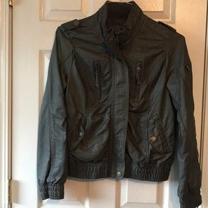 Faux Gray Leather Jacket